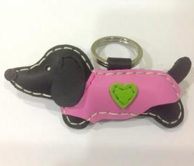 Edda the Dachshund Leather Keychain ( Black / Pink Outfit )