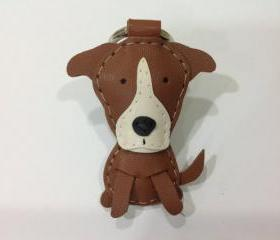 Randy the Pitbull leather keychain ( Brown )