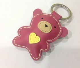 Jennifer the Bear Leather Keychain ( Pink )