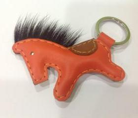Beon the Horse Leather Keychain ( Orange )