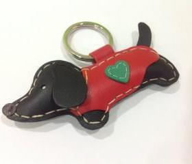 Edda the Dachshund Leather Keychain ( Black / Red Outfit )