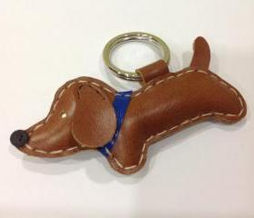 Copper the dachshund Leather Keychain ( Dark Brown / Blue collar )