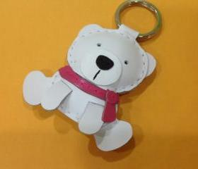 Julian the Polar Bear Leather Keychain ( White / Pink scarf )