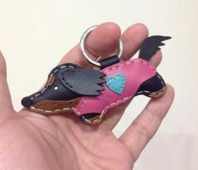 Moko the Running Dachshund Leather Keychain ( Black / Pink Outfit )