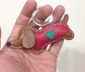 Copper the dachshund Leather Keychain with Outfit ( Dark Brown / Red Outfit )