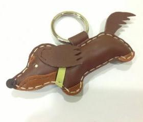 Rocker the Running Dachshund Leather Keychain ( Brown / Green collar )