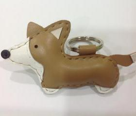 Luna the Corgi leather keychain ( Light Brown )