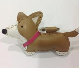 Luna the Corgi leather keychain ( Light Brown / Pink Collar )