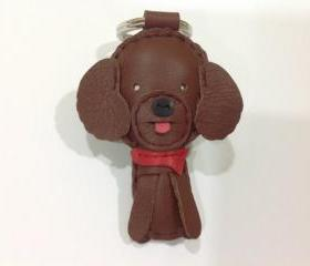 Pudding The Poodle Leather Keychain ( Dark Brown )