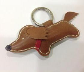 Russell the Running Dachshund Leather Keychain ( Dark Brown / Red Collar )