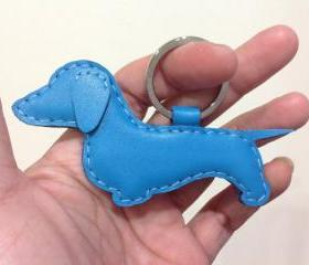 Prince the Dachshund Leather Keychain ( Turquoise )