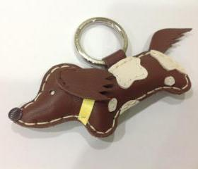 BiBi the Running Dachshund Leather Keychain ( Brown / Yellow collar )