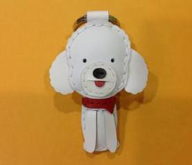 Cindy the Poodle Leather Keychain ( White )