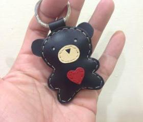 Jennifer the Bear Leather Keychain ( Black )