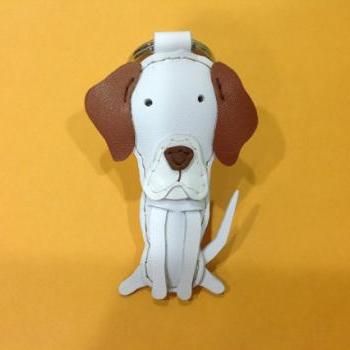 Kate the English Pointer leather keychain ( White / Brown )