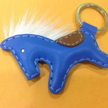 Beon the Horse Leather Keychain ( Blue )